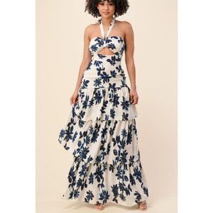 NWT Floral Print Gown with Keyhole